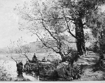 ORIGINAL ETCHING Print - Italy Lake Garda by Jean Baptiste Corot