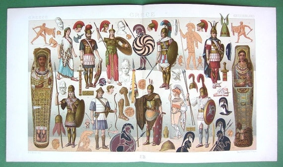 GREECE Greek Military Costume Mummies - 1888 COLOR Antique Litho Print by A. Racinet