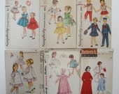 Vintage Sewing Pattern Lot - Girl Size 6 - 40's 50's 60's- Simplicity McCall Butterick - Dress, Nightgown Pyjamas
