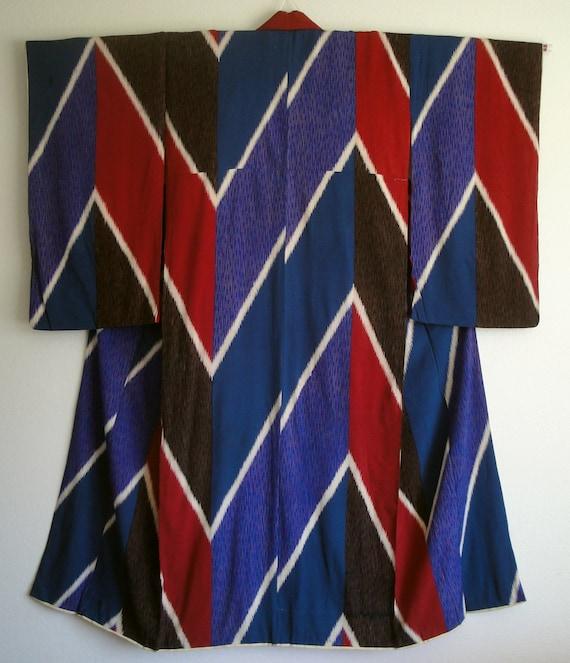 SALE -- Vintage Taisho Roman Blue, Red & Teal Yabane Kimono