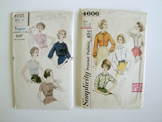 Vintage Sewing Pattern Lot - Vogue 9725 Simplicity 4606 - 1950 to 60 - Size 14 and 16 - Tuck in Blouse With Peter Pan Collar Option