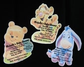 Unique Personalized Baby Shower Winnie the Pooh, Tigger or Eyore Shaped Invitations with Envelopes