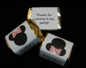 30 Unique Personalized Minnie Mouse Inspired Hershey's nugget labels, candy wrappers