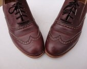 Size 7.5, 90s Burgundy Purple Leather Wingtip Heeled Brogues by Roots