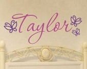Custom Vinyl Name Decal - Children's Vinyl Wall Art - Teen Vinyl Lettering - Butterfly Vinyl Decal