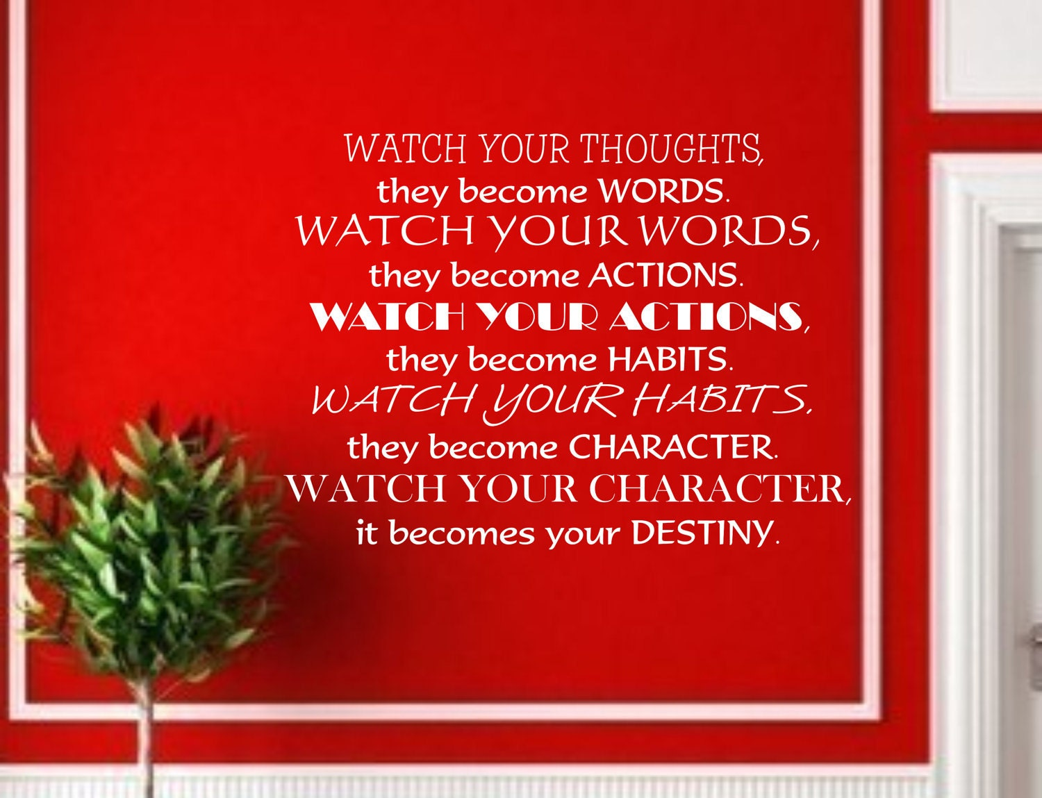 Items Similar To Watch Your Thoughts... Quote Vinyl Wall
