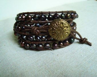 It's A Wrap - Brown Leather & Peacock Freshwater Pearls Wrap Bracelet with Vintage Gold Filigree Button
