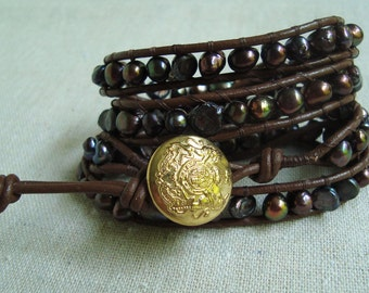 It's A Wrap - Brown Leather & Peacock Freshwater Pearls Wrap Bracelet with Vintage Gold Button