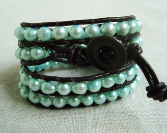 It's A Wrap - Brown Leather & Mint Green Freshwater Pearls Wrap Bracelet with Bronze Button Closure