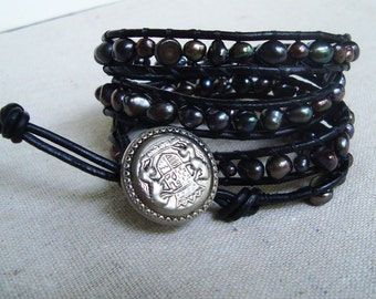 It's A Wrap - Black Leather & Peacock Freshwater Pearls Wrap Bracelet with Vintage Silver Emblem Button