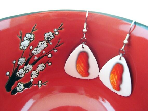 Salmon Serenade - Guitar Pick Salmon Sashimi Sushi Themed Dangle Earrings