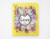 Hand painted canvas love and flowers