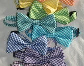 Gingham Child or Infant Adjustable Boy Bow Tie (pick your color)