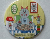"Cat Magnet - ""Spaghetti and Miceballs"" - 3.5"" Magnet (Personalized if desired) - Buy 3, Get 4th FREE"