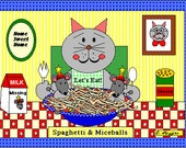 Spaghetti and Miceballs 4-pack of Blank Notecards