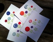 Button Note Cards (Blank) - Set of 4