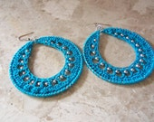 Crochet Turquoise Earrings with Silver Beads