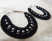 Small Black Crochet Earrings with Silver Beads