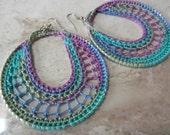 Colorful Crochet Earrings-Variegated Blue, Purple, and Green