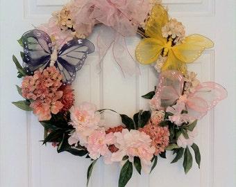 Triple Butterfly Shabby Chic Wreath