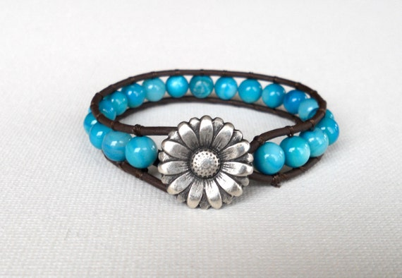 ON SALE: No. 16 // Leather Beaded Wrap Bracelet 1x