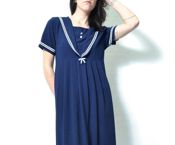 l l l SALE l l l Vintage 80s Nautical Babydoll Maxi Dress. S, M, L