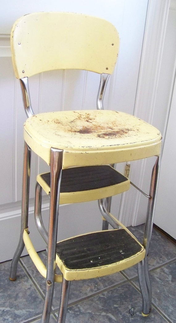 Retro 1960s Kitchen Step Stool with Two Pull Out Step, Vintage Kitchen Accessory, Retro Kitchen Decor