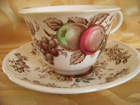 Vintage Johnson Bros. Hand Engraved China Cup and Saucer, Retro Dinnerware, Made in England, Windsor Ware, Windsor Fruit