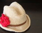 Crochet Cowgirl / Fedora Hat 0-3 mo Cream, Brown with red flower