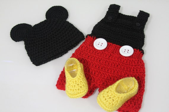 Newborn Mickey Mouse Hat, Romper, Shoes PDF Pattern