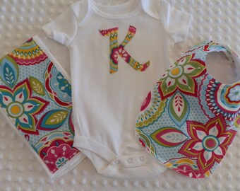 Baby Girl Personalized Onesie with Matching Burp Cloth and Bib Set