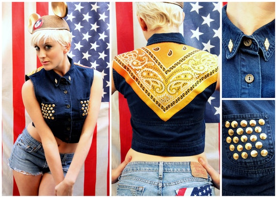 ON SALE Navy Blue Top with Gold Studded Pockets & Bandana Back