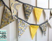 SALE Party Bunting, Garland, Banner in floral yellow, gray, white, black for photo props, baby showers, birthday parties, kids play room