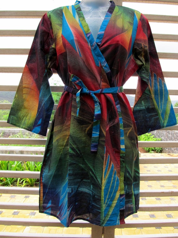 Multi-colored kimono style crossover robe - bridesmaids gift, getting ready robe, bridal shower party, party favors, wedding photo prop