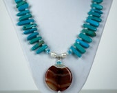 Carnelian and turquoise necklace and earring set