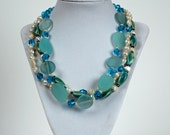 Triple Strand Man-made Beach glass and pearl necklace and earring set