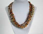Four Strand Unakite and carnelian necklace and earring set