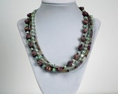 Triple Strand Fluorite and pearl necklace and earring set