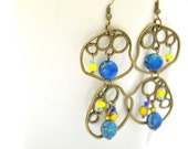 Bubble earrings, made with cobalt Dalmatine Jasper stones, yellow czech glasses and small blue crystals