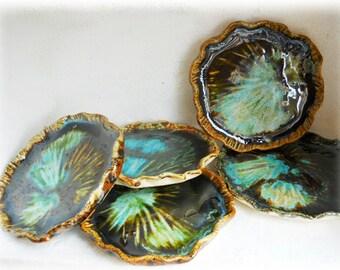 Thai lotus leaf mini plate collection, 5 pieces of Lotus leaf, Soap Dish, Tea Bag Holder, Candle Holder, Jewelry holder, Candle Holder