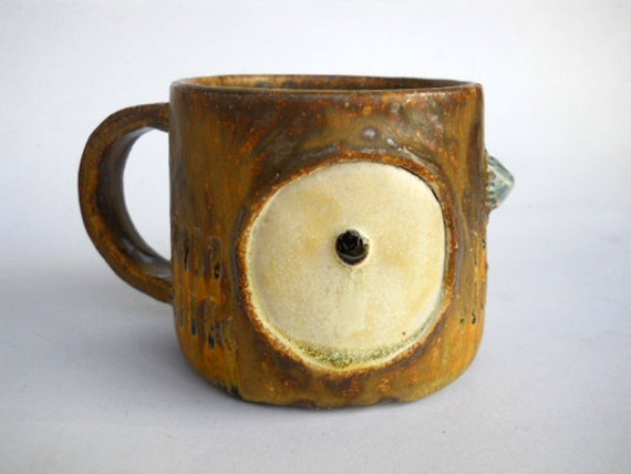 Big Eye Owl Ceramic Mug, Handmade Stoneware Ceramic Mug, Brown owl Mug