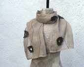 Shawl gray linen  - Scarf wrap natural linen -frayed brown circles, eco linen scarf spring - summer, unisex