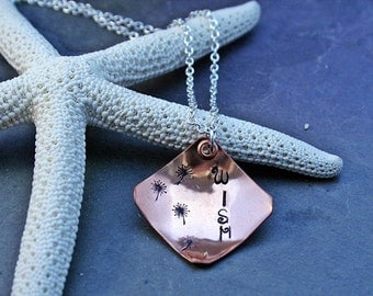 "Copper Square Handstamped ""Wish"" Necklace on Silverplated chain, riveted"