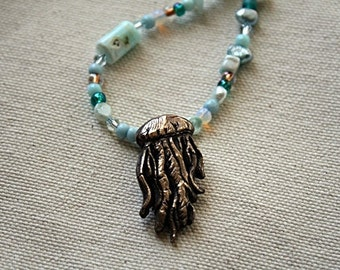 Bronze Metal Clay Jelly Fish Pendant on Aqua Peruvian Opal Necklace