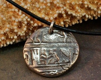 White Bronze Clay Handmade  Egyptian Hieroglyph Medallion on Leather Like Cord with Sterling Clasp