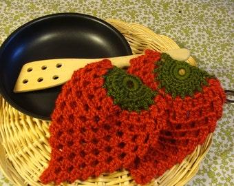 Potholders, strawberry shaped crochet in a cotton yarn.