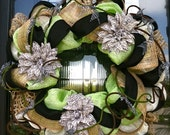 Cream, Lime, and Black deco mesh wreath with large zebra print flowers