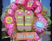 Super Duper SALE FREE Shipping/ Life's A Beach Flip Flop deco mesh Wreath