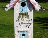 Bird House - Ruffles, pinks - white dove - Girly Fru Fru Bird House