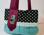 Purple and Turquoise Polka Dot Tie Bag with Electronic Circuit Decoration